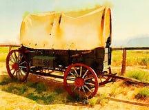Chariot couvert d'antiquité dans l'aquarelle illustration de vecteur