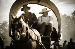 Chariot couvert de sépia dans le rétablissement de guerre civile Image stock