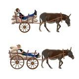 Chariot d'âne avec l'homme menteur illustration libre de droits