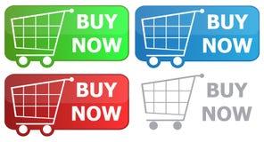 Chariot d'épicerie de bouton Images stock