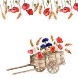 Chariot d'aquarelle avec des fleurs sur le fond blanc Photographie stock libre de droits