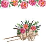 Chariot d'aquarelle avec des fleurs sur le fond blanc Photos libres de droits