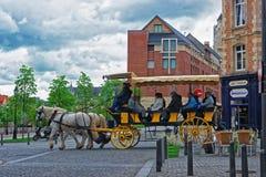 Chariot de cheval avec des touristes au centre de la ville d'Amiens Images libres de droits