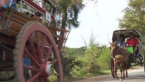 Chariot de cheval d'équitation de touristes dans Myanmar - 22 novembre 2017 banque de vidéos