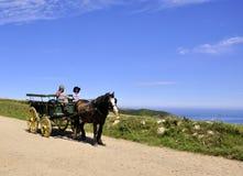 Chariot de cheval dans Sark Images stock