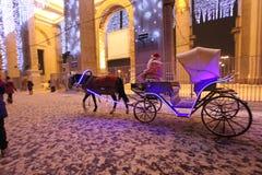 Chariot de cheval de Santa Claus, Moscou Images libres de droits