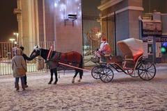 Chariot de cheval de Santa Claus, Moscou Photos stock