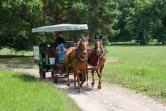 Chariot de cheval en parc entourant le château de Lednice en Moravie du sud Images stock