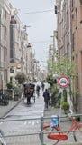 Chariot de cheval sur des rues d'Amsterdam, Hollande photo libre de droits