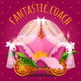 Chariot de conte de fées de la princesse faite de fleur Image stock