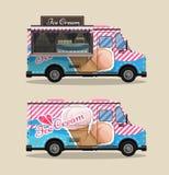 Chariot de crème glacée, kiosque sur des roues, détaillants, desserts de laiterie illustration de vecteur