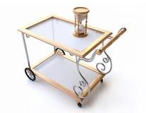 Chariot de dîner avec le sablier en bois illustration libre de droits