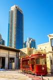 Chariot de Dubaï, un tram de style de l'héritage avec impériale photo stock