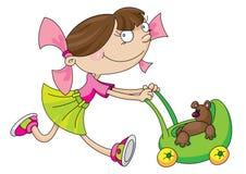 Chariot de fille et de jouet Illustration Libre de Droits