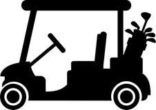 Chariot de golf avec des clubs illustration de vecteur