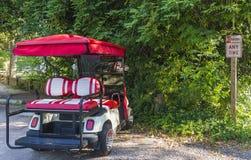 Chariot de golf dans une région de stationnement interdit Photographie stock libre de droits