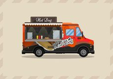 Chariot de hot-dog, kiosque sur des roues, détaillants, petit déjeuner rapide de casse-croûte, aliments de préparation rapide et  Photographie stock libre de droits