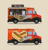 Chariot de hot-dog, kiosque sur des roues, détaillants, petit déjeuner rapide de casse-croûte, aliments de préparation rapide et  illustration libre de droits