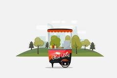 Chariot de hot-dog, kiosque sur des roues, détaillants, petit déjeuner rapide de casse-croûte, aliments de préparation rapide et  Image stock