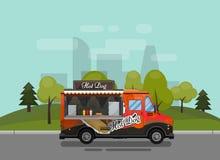 Chariot de hot-dog, kiosque sur les roues, détaillants, petit déjeuner rapide de casse-croûte, aliments de préparation rapide et  Images stock