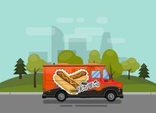 Chariot de hot-dog, kiosque sur les roues, détaillants, petit déjeuner rapide de casse-croûte, aliments de préparation rapide et  illustration libre de droits