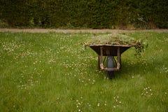 Chariot de jardin avec l'herbe verte fra?chement coup?e grand t sur la pelouse Travaux de jardin photographie stock libre de droits