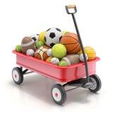 Chariot de jouet du ` s d'enfant de vintage mini avec des boules de sport - illustration 3D Photos stock
