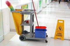 Chariot de nettoyage Photographie stock libre de droits