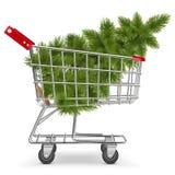 Chariot de vecteur avec l'arbre de Noël Image libre de droits