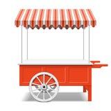 Chariot du marché de l'agriculteur rouge Photographie stock libre de droits
