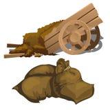 Chariot en bois avec des sacs d'engrais et de chiffon illustration stock