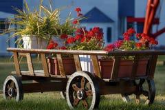 Chariot en bois avec les fleurs rouges sur une clairière verte Images stock