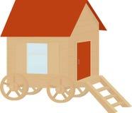 Chariot en bois de caravane de vintage, vecteur plat de conception Images stock