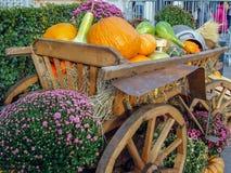 Chariot en bois de cru chargé avec différents potirons images libres de droits
