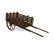 Chariot en bois de traction sur le blanc Photographie stock libre de droits