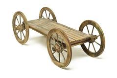 Chariot en bois sur le blanc Photographie stock