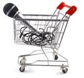 Chariot et microphone Photographie stock libre de droits