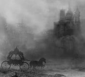 Chariot et un château médiéval Image libre de droits