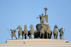 Chariot of Fame. On the arch of the Main Staff, Palace Square, St. Petersburg, Russia, 1828 Stock Image