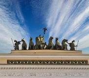 Chariot of Fame on the roof of the Headquarters in Palace Square of Saint-Petersburg, Russia Stock Photo