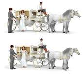 Chariot, fille dans la robe blanche, homme dans le costume, cocher, paire de chevaux Photographie stock libre de droits