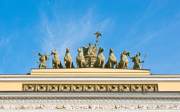 Chariot of Glory. Composition on General Staff building in St.Petersburg, Russia Stock Image