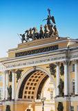 Chariot of Glory on the General staff arch. General Staff Building in St Petersburg. Triumphal Arch, crowned by the Chariot of Glory Stock Photography