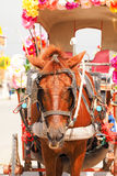 Chariot hippomobile décoré des fleurs Photographie stock