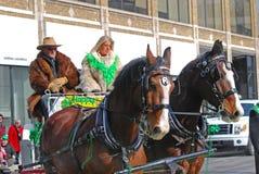 Chariot hippomobile dans le jour du ` s de St Patrick, Ottawa, Canada Photos libres de droits
