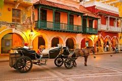 Chariot hippomobile, Plaza de los Coches, Carthagène Photographie stock libre de droits