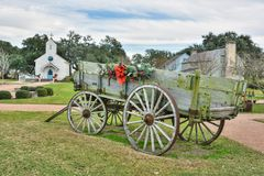 Chariot historique au marché de place de Henkel dans le couvercle rond, TX image stock