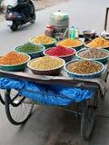 Chariot indien de nourriture de rue de bord de la route image stock
