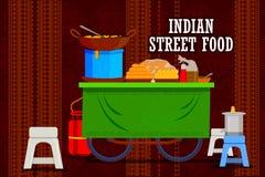 Chariot indien de nourriture de rue représentant l'Inde colorée illustration stock