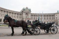 Chariot noir près du château Hofburg. Image libre de droits